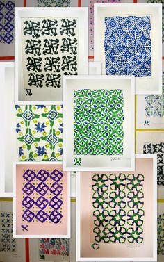 The Art Room: 5th grade Eraser prints inspired by Islamic art.