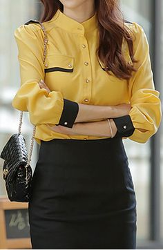 Top It Off | Elegant Stand Collar Color Block Long Sleeve #Yellow Chiffon #Blouse