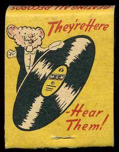Details about Vintage M-G-M Entertainment Stage & Radio Records Matchbook Vintage Labels, Vintage Ads, Vintage Posters, Vintage Advertisements, Matchbox Art, Vinyl Junkies, Retro Illustration, Illustrations, Vintage Vinyl Records