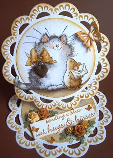 handmade Valentine: Ullis Bastelwerkstatt: Purr-fect message ... adorable Penny Black image ... easel card  .... round ... beautiful coloring and dimensional roses ...
