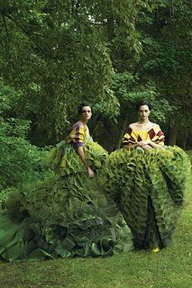 Garden of Delight ~ John Galliano's topiary dresses for Christian Dior Couture (photographed by Steven Meisel)