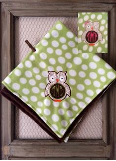 White And Green Fleece Minky Owl Blanket,Monogramed Baby Blanket by TBEmbroidery4You on Etsy