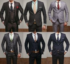 All sharp suits in all sorts of colors.