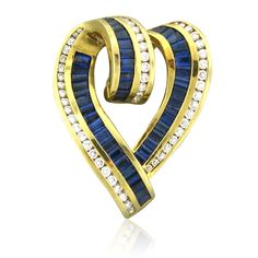 Pendant/Brooch | Charles Krypell.  18k gold, diamonds and Sapphires.