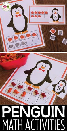 Penguin math activity for preschool, pre-k, and kindergarten. Kid can use the number cards to match numbers to quantities and can use the number mats to build numbers. Great for your winter theme, penguin theme, or polar animal theme math centers, math tubs, or math work stations.