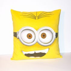 """One of a kind Minion pillow. - As soft as your favorite tee shirt - 16"""" x 16"""" pillow - Envelope closure in the back for easy washing and care - Made in the U.S."""