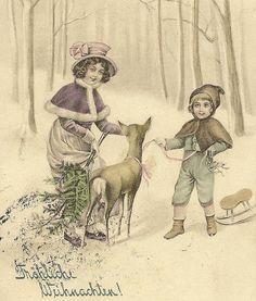 Frohliche Weihnachten Children in Snowy Woods от TheOldBarnDoor