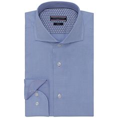 08806573 Tommy Hilfiger Cotton Dobby Puppytooth Slim Fit Shirt, Blue at John Lewis &  Partners