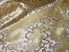 Chinese satin brocade in IVORY and gold - ONE yard, cream satin brocade fabric, pale ivory gold Tibetan flower brocade, cream brocade, 1 yd. Gold Creme, Brokat, Satin, Saree Dress, Brocade Fabric, Fabric Patterns, Ivory, Chinese, Window