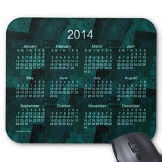 Teal Patchwork 2014 Calendar Mouse Pad Design from Calendars by Janz
