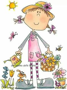 Miss Mary Margaret - Children - Rubber Stamps - Shop Doodle Drawings, Doodle Art, Cute Drawings, Illustrations, Illustration Art, Stick Figure Drawing, Digi Stamps, Watercolor Cards, Whimsical Art