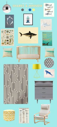Lay Baby Lay: sharks // I am MADLY in love with this color scheme! && oooh baby the furniture <3