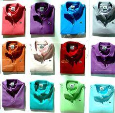 Lacoste (a colourful bouquet). Custom Polo Shirts, Polo T Shirts, Golf Shirts, Men Shirts, Lacoste Store, Lacoste Polo, Camisa Polo, Business Casual Men, Men Casual