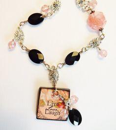 Live Love Laugh Black Onyx and Cherry Quartz by StoneWingDesigns