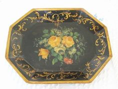 Antique Hand Painted Rare 8-Sided Deep Tole Tray ~ Yellow Roses & Fancy Gold