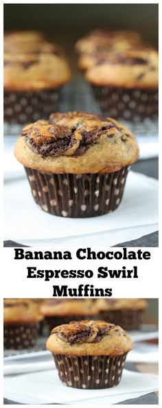 These Banana Chocolate Espresso Swirl Muffins are light and moist, and have a decadent swirl of espresso enhanced chocolate throughout the middle.