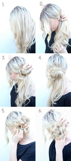 How to Do Style: Messy Side Bun Updo My awesome sister taught me to do this over a year ago and it's been a curly-girl lifesaver! The post 10 Super Easy Updo Hairstyles Tutorials appeared first on Hair Styles. My Hairstyle, Pretty Hairstyles, Hairstyle Ideas, Summer Hairstyles, Easy Messy Hairstyles, Simple Hairdos, Easy Wedding Guest Hairstyles, Christmas Party Hairstyles, Bridesmaid Hairstyles