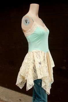Shabby Chic Lace Camisole, Romantic Aqua, Junk Gypsy Style