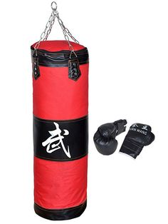 Heavy Boxing Punching Bag Training Gloves Kicking Workout With Chain Empty Set