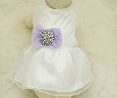 Lavender Dog Dress, Pet wedding accessory,dog clothing, Rhinestone, dog lovers, birthday gift, Lavender wedding, Rhinestone, Vintage wedding