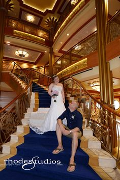 Grand staircase on the Disney Dream cruise ship wedding!