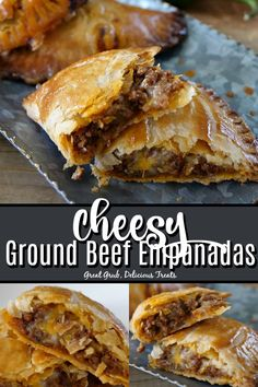 Recipes No Meat Cheesy Ground Beef Empanadas are flaky, made with deliciously seasoned ground beef, two types of cheese and baked to perfection. Meat Recipes, Gourmet Recipes, Mexican Food Recipes, Appetizer Recipes, Cooking Recipes, Meat Appetizers, Healthy Recipes, Easy Beef Recipes, Ground Beef Recipes Mexican
