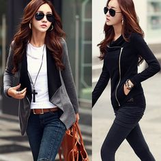 Find More Basic Jackets Information about Women's Korean Causal Patchwork Side Zipper jackets 2015 New Fashion Cotton Slim Turn Down Collar roupas femininas HL148,High Quality Basic Jackets from Biovan_china's store on Aliexpress.com