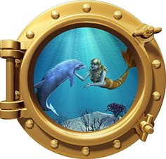 Port Scape Mermaid & Dolphin 1 Porthole Wall by StickitGraphixllc