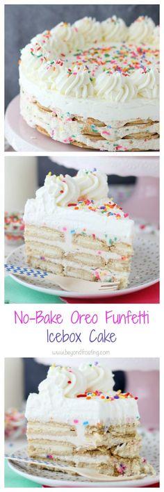 This No Bake Golden Birthday Cake Oreo Cheesecake combines cake