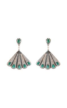 I'll take these in my stocking, thanks.  //  Silvia Furmanovich Emerald and Diamond Fan Earrings