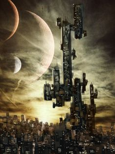 Cyberpunk Cityscape -concept by coolkatcasey on DeviantArt Arte Cyberpunk, Cyberpunk City, Futuristic City, Space Fantasy, Fantasy World, George Orwell, Sci Fi City, Conceptual Architecture, Steampunk