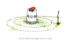 Measuring out a herb spiral | The Micro Gardener