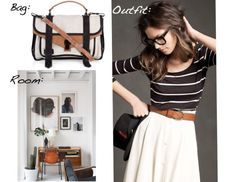 Love the casual striped t-shirt with touch of leather and an a-line skirt...perhaps it's also the eyeglasses...