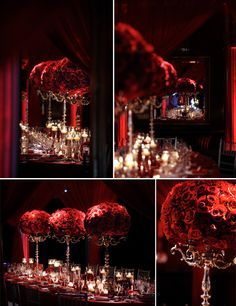 The tall candelabras made for a dramatic vessel filled with lush large balls of roses at the top and candlelight and petals at the base.