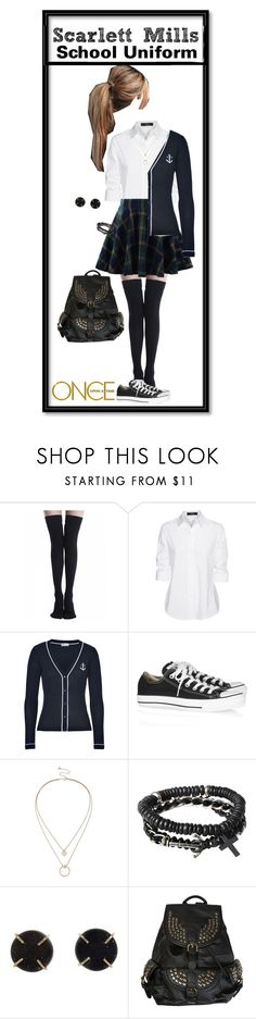 """""""Scarlett Mills Uniform OUAT"""" by joyceunicorn ❤ liked on Polyvore featuring Steffen Schraut, RED Valentino, Converse, Sole Society, Icon, Melissa Joy Manning and Once Upon a Time"""
