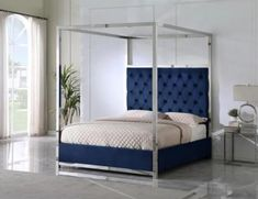 """Best Master JJ026-BL Red barrel studio linford blue velvet fabric diamond tufted silver metal queen canopy bed set. Queen bed measures 66"""" x 85"""" x 84"""" H. Some assembly required. Also available in Cal king and Eastern King at additional cost."""