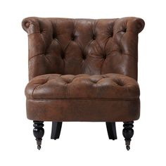 Home Decorators Collection Flanders Brown Faux Suede Accent Chair 1272400820 at The Home Depot - Mobile Decor, Furniture Chair, Chair, Furniture, Accent Chairs, Home Decorators Collection, Brown Accent Chair, Side Chairs Living Room, Cheap Modern Furniture