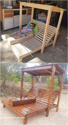 Extraordinary DIY Wood Pallet Ideas for Your Home Wood pallets have always remained one of the favourite choices in the locations of the gardens. In this wood pallet idea as well you will be catching the impressive use of the outdoor sun lounger design th Pallet Garden Furniture, Diy Outdoor Furniture, Furniture Projects, Garden Pallet, Furniture Plans, Rustic Furniture, Pallet House, Furniture Storage, Diy Furniture From Pallets