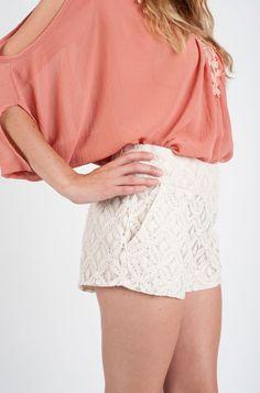Vanilla White Wide Waistband Lace Shorts