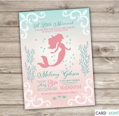 Printable Mermaid Baby Shower Invitations Shabby Chic Little Mermaid Silhouette Theme Pink Teal Cute Invitations pdf jpeg
