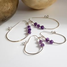 #HoopEarrings #DelicateEarrings #SpringEarrings #AmethystHoop #WomensFashion Hoop Earrings are a favourite, these beautifully delicate hoops have style and movement. Australian Versatile Handmade Jewellery. Free Domestic Shipping.