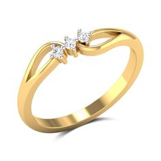 Crafted from and gold, this beauty features three perfectly studded diamonds flanked by teardrop accents on either sides. Tiny Diamond Ring, Diamond Jewelry, Gold Jewelry, Jewelry Bracelets, Bangles, Gold Ring Designs, Stylish Jewelry, Fashion Rings, Gold Rings