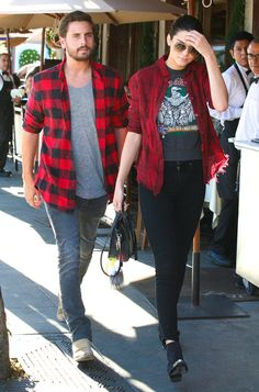 Twinning! Kendall Jenner and Scott Disick grab lunch wearing matching flannel shirts!