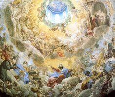 Giovanni Lanfranco L'assunzione della Vergine (La Gloria Celeste con la Vergine), 1625 - 1628, affresco, Cupola della Basilica di Sant'Andrea della Valle, Roma.