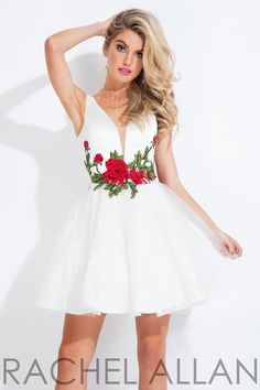 61283209b63 Rachel Allan 4463 Short Party Dress with Flowers. White Homecoming  DressesUnique Prom ...