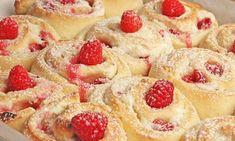 Raspberry Cheesecake Rolls Recipe Cheesecake Roll Recipe, Raspberry Cheesecake, Rhubarb Recipes, Pie Recipes, Dessert Recipes, Raspberry Recipes, Kitchen Recipes, Laura In The Kitchen Recipe, Gourmet