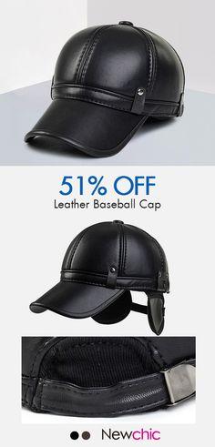 4529cd5b182 Men Cowhide PU Leather Baseball Cap Earflaps Earmuff Bomber Snapback  Adjustable Hat Peaked cap is hot sale on Newchic.