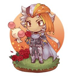 [Picture: Chibified Firion from FF2 and a moogle. He is standing on a little platform with roses, one of which he is looking at and smiling slightly. The moogle is just floating near him.]