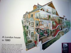 1880s London house cutaway diagram at the Geffrye Museum, Shoreditch, London