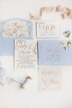 Love the mix of Pantone Serenity and Rose Quartz in this invitation suite Gold Wedding Invitations, Wedding Calligraphy, Wedding Stationary, Wedding Paper, Wedding Cards, Gold Calligraphy, Invites, Calligraphy Invitations, Beautiful Calligraphy